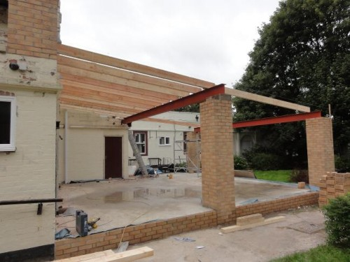 3. Steel universal beam and first rafters on 500x375 Flat Roof Construction