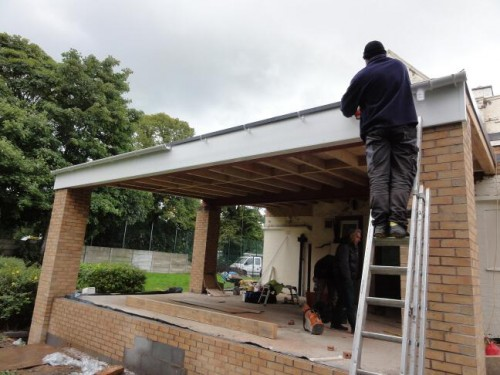 8. UPVC fascia board and gutters to flat roof structure 500x375 Flat Roof Construction