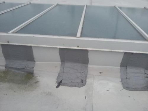 6. Bad repair to failed Trocal roofing detail. 500x375 Sika Trocal Roofing System Replacement