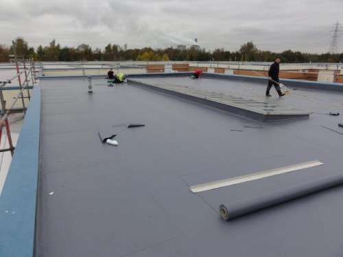 9. Trocal roofing system being overlaid in Duranite PVC 500x375 Sika Trocal Roofing System Replacement