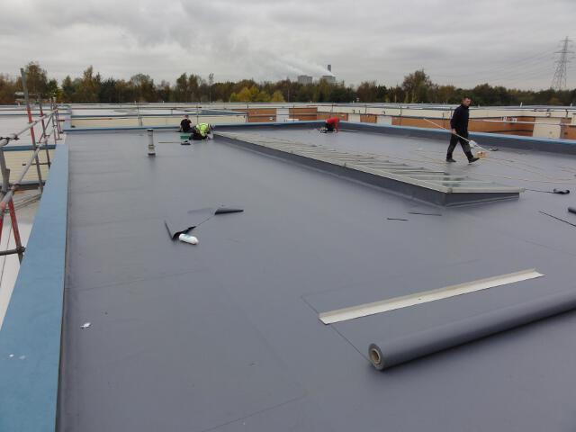 9 Trocal Roofing System Being Overlaid In Duranite Pvc